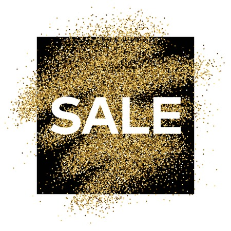 Gold glitter background with Sale inscription