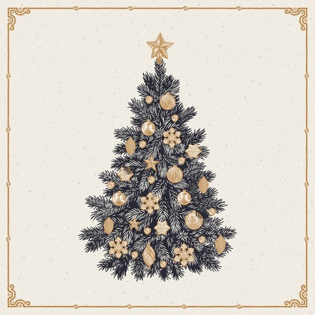 old frame: Vector illustration of detailed retro styled Christmas tree isolated on white background