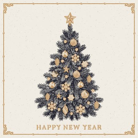 Retro styled greeting card of detailed Christmas tree with inscription. Vector illustration.