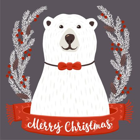 holiday card: Winter greeting card of a cute hand drawn polar bear with calligraphy phrases. Christmas background with smiling cartoon character.