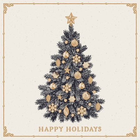 linocut: Retro styled greeting card of detailed Christmas tree with inscription. Vector illustration.