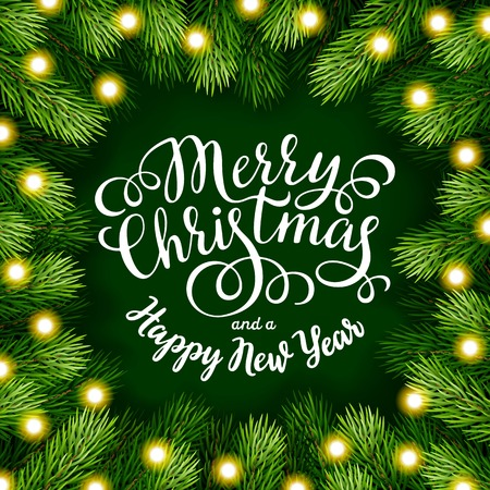 phrases: Hand drawing calligraphy phrases with detailed christmas tree Wreath for greeting card, poster, banner, website, header. Vector illustration.