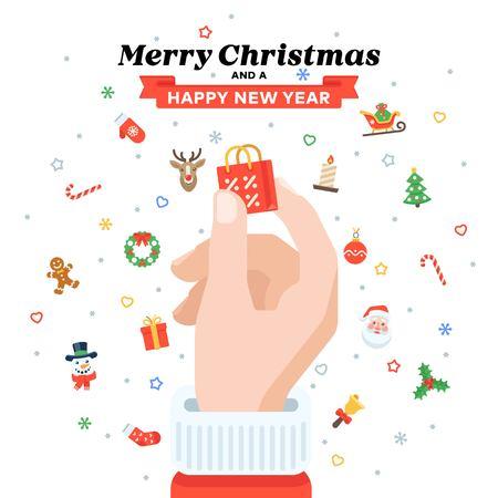 Christmas card with Santas hand holding shopping bag.