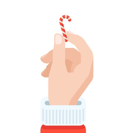 Santa's hand holding candy cane in flat design style.