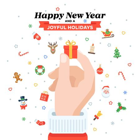 Christmas card with Santa's hand holding gift box. Illusztráció
