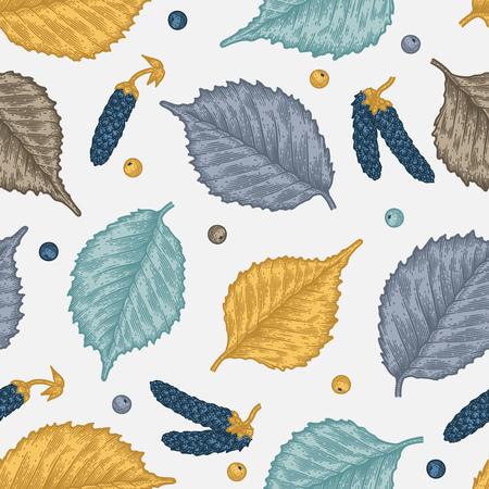 Nahtloses Muster der Stichblätter von Birkenblättern und -samen. Vintage-Ätzung saisonalen Dekor. Standard-Bild - 88327476