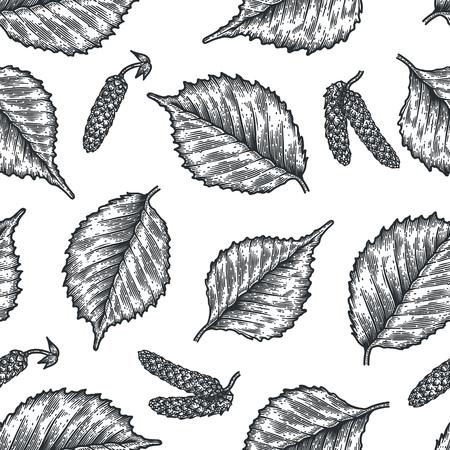 Nahtloses Muster der Stichblätter von Birkenblättern und -samen. Vintage-Ätzung saisonalen Dekor. Standard-Bild - 88327478