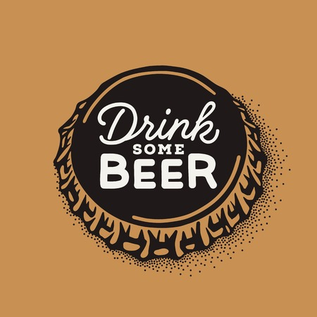 Craft beer bottle cap with brewing inscription in vintage style. Engraving illustration with lettering in hipster style isolated on grunge background. Çizim