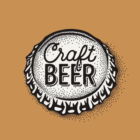 Craft beer bottle cap with brewing inscription in vintage style. Engraving illustration with lettering in hipster style isolated on grunge background. Ilustração