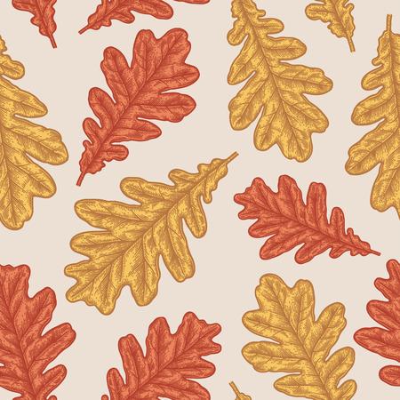 Stich Herbst Eiche nahtlose Muster. Vintage Botanik Dekor. Standard-Bild - 88326744
