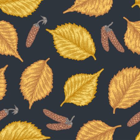 Nahtloses Muster der Stichblätter von Birkenblättern und -samen. Vintage-Ätzung saisonalen Dekor. Standard-Bild - 88326754