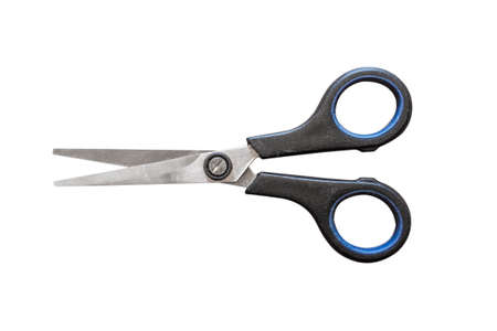 haircutter: old black plastic scissors open Isolated on white background
