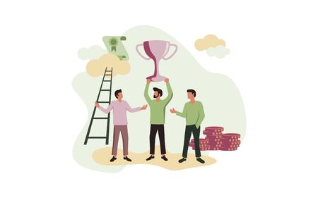 People Illustration get a success. Celebrating success on the top of money, trophy and certificate at the background