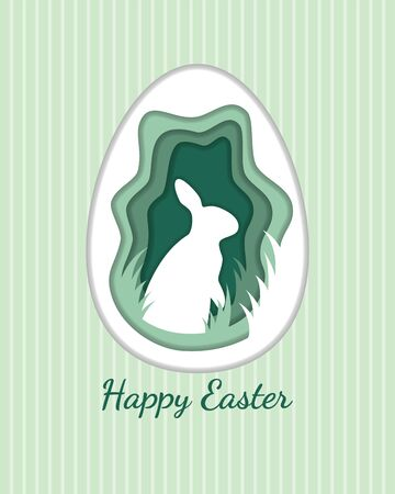 Rabbit inside egg paper cut style with text