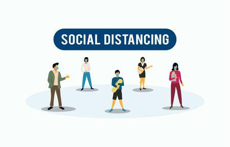 Social Distancing illustration related to Coronavirus prevention tips. Vector illustration to avoid Coronavirus.