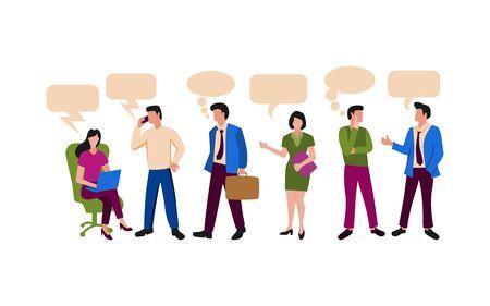 Illustration de personnes liée à l'activité de bureau ou à l'équipe de travail. Hommes et femmes actifs en entreprise Vecteurs
