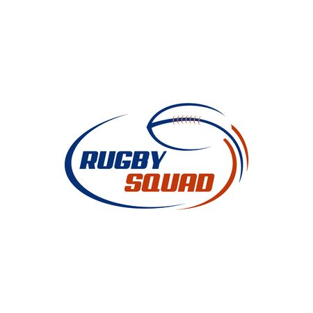 Rugby ball incorporated with swoosh around text. Logo design for rugby sport