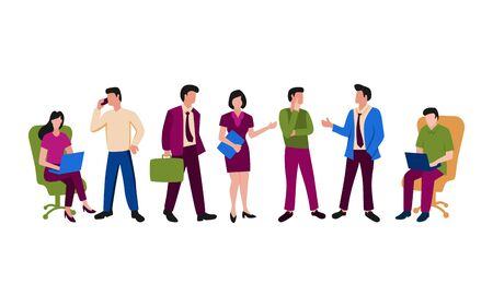 People illustration related to office activity or working team. Men and women working activity for business Illustration