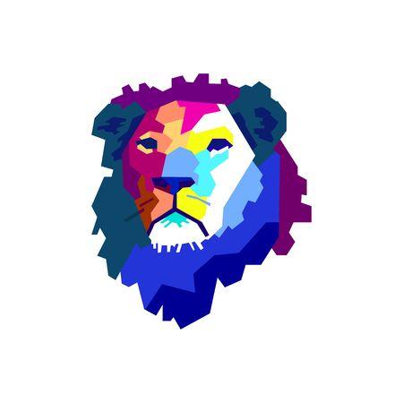 Colorful straight shape composing lion head