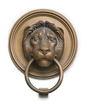 lock block: isolated lionhead knocker from hungary