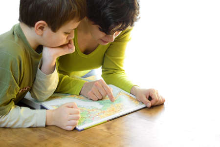isolated mother and child with map