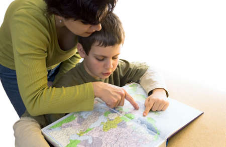 isolated woman and boy are planing a trip