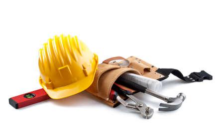 Casco aislado con las herramientas en blanco Foto de archivo - 23649006