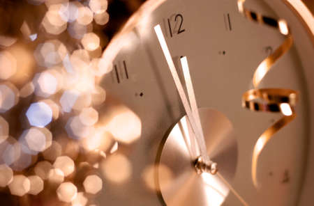 新年時計 写真素材