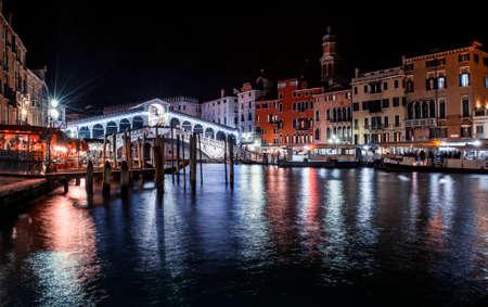 the venetian rialto bridge by night