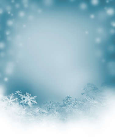 snow falling: winter background with natural snowflakes