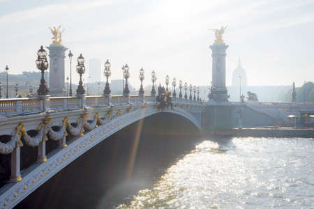 Paris, Pont Alexandre III (Alexandre III bridge) in an autumn morning Reklamní fotografie