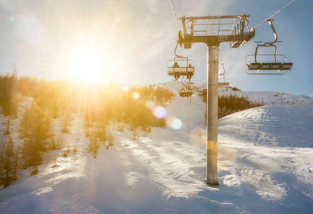 ski-lift in sunshine, France, Puy st. Vincent