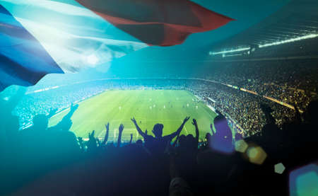 Overvol met de Franse vlag voetbalstadion Stockfoto