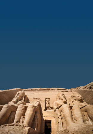 The Great Temple of Abu Simbel with Blue Sky (copy space), Egypt Standard-Bild