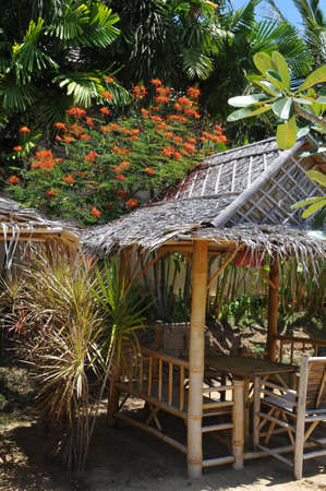 summer house: Tropical summer house made from bamboo with beautiful flowers on the roof