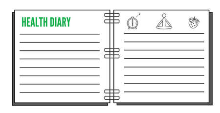 healthy diary plain design open notebook with titile and lines about nutrition, sport and sleeping schedule