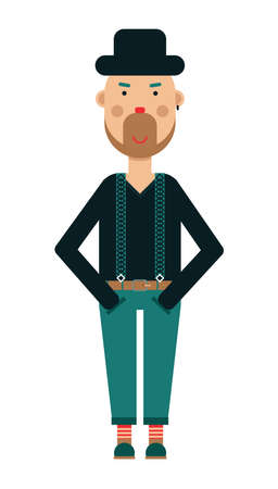 Hipster in pants, sweater and black hat standing with smiling face and looking at camera, vector illustration on white Vecteurs