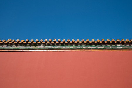 ancient Chinese red wall design Stok Fotoğraf