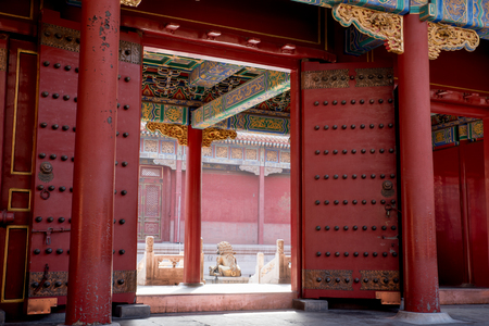 Forbidden city courtyard in Beijing, China Редакционное