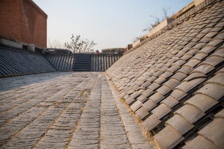 red brick architecture, brick art in Beijing China Фото со стока