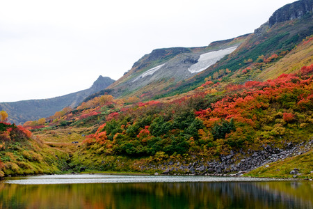 red leaf valley and lake Stok Fotoğraf