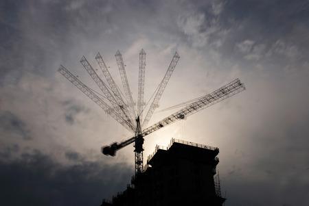 silhouette of tower crane Фото со стока