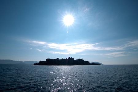 abandoned island in Hashima Island Japan Stock Photo