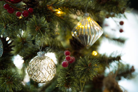 close up of christmas tree decoration
