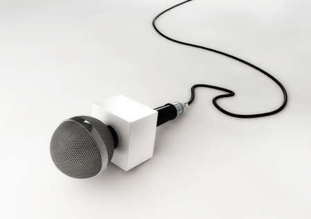 Broadcast News Microphone Stock Photo