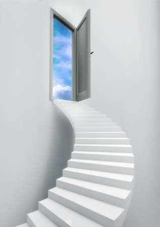 top of the world: Ladder Stairs Heaven Door Freedom Blue Sky. Freedom Concept. Stock Photo