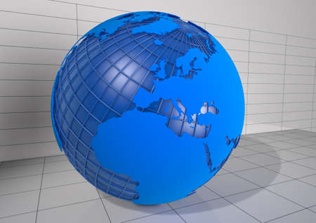 wireframe globe: Detailed 3d Earth Render on isolated white background