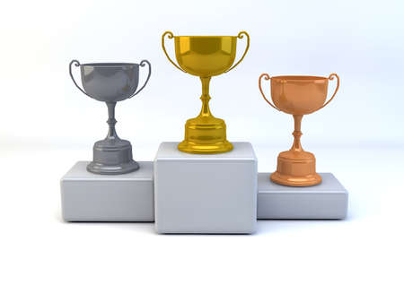 Winner concept with gold,silver and bronze trophies  on isolated white background photo