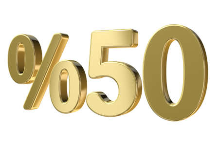 Golden Fifty Percent Sign on isolated white background Stock Photo