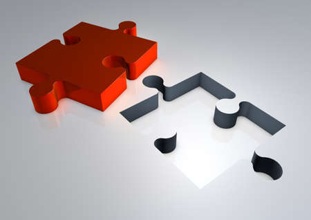 3d Render of Jigsaw Puzzle Solution, isolated illustration. Stock Photo